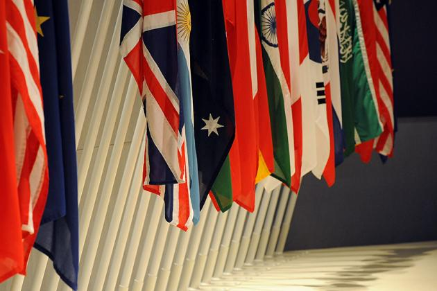Flags of G20 nations inside the main meeting room of the London Summit, 2 April 2009